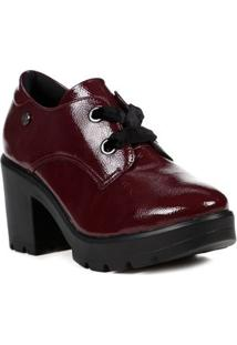 Sapato De Salto Oxford Feminino Quiz Bordô