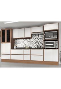 Cozinha Completa 11 Peã§As Calã¡Bria Snow Nogueira/Branco Com Rodapã© E Tampos - Incolor/Marrom - Dafiti