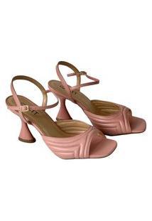 Sandália Salto Taça Frente Matelassê Rose