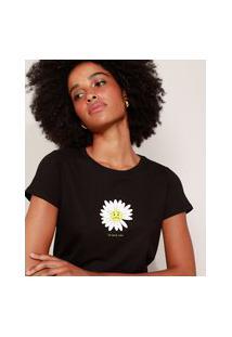 Camiseta Feminina Flor Triste Manga Curta Decote Redondo Preta