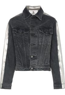 Jordache Metallic Back Cropped Denim Jacket - Cinza