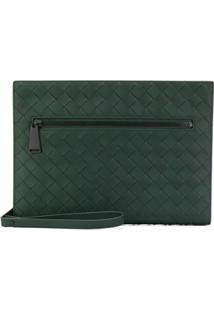 Bottega Veneta Woven Zipped Clutch Bag - Verde