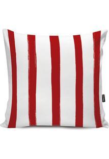 Capa Para Almofada Impermeável Stripes- Branca & Vermelhstm Home
