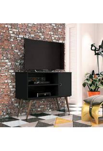 Rack Para Tv Até 32 Polegadas 1 Porta Reale Retrô Edn Móveis Preto Touch