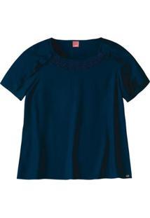 Blusa Viscose Maquinetado Com Detalhe Em Renda Wee! Plus Size - Feminino-Marinho