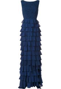 Martha Medeiros Vestido Longo Leonora Rendado - Azul