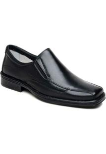 Sapato Masculino Confortável Bico Quadrado Cla Cle - Masculino-Preto