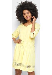 Vestido Pérola Evasê Curto Guipir Manga Longa - Feminino-Amarelo