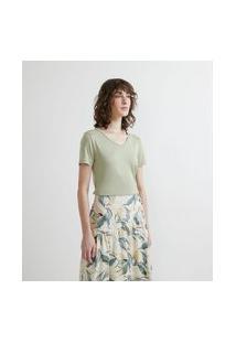 Blusa Básica Em Viscose Com Gola V E Manga Curta | Cortelle | Verde | M