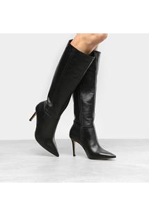 Bota Couro Cano Longo Shoestock Salto Fino Feminina - Feminino-Preto