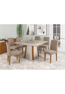 Conjunto De Mesa De Jantar Com Tampo Giratã³Rio Jãºlia E 6 Cadeiras Ana Veludo Linho Off White E Bege