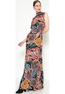 Vestido Longo Floral - Preto & Marrom - Ahaaha