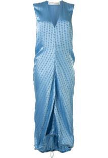Off-White Logo-Jacquard Sleeveless Dress - Azul