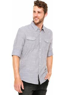 Camisa Hering Slim Estampada Cinza