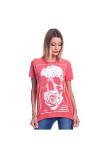 Camiseta Jazz Brasil Caveira Flower Vermelha
