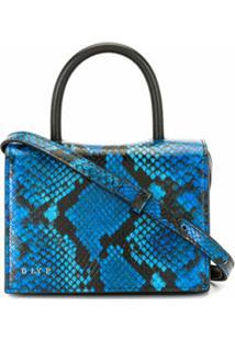 Dlyp Bolsa Transversal Com Estampa Pele De Cobra - Azul