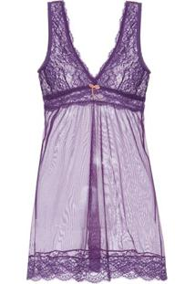 Camisola Curta Renda Me Too Loungerie - Roxo