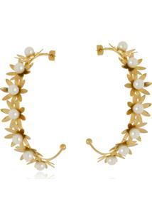 Argola Aberta Le Diamond Flores E Pérolas Dourada