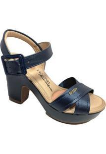 Sandália Plataforma Modare Tiras Conforto Feminina - Feminino-Marinho