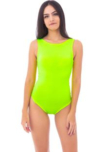 Body Moda Vicio Regata Com Decote Costas Amarelo Neon