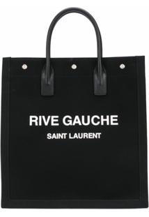 Saint Laurent Bolsa Tote Rive Gauche De Tecido - Preto