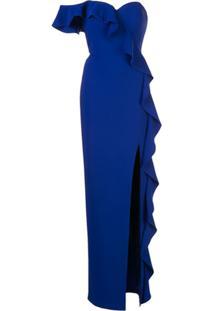 Aidan Mattox Vestido De Festa Assimétrico Com Babados - Azul