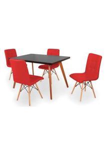 Conjunto Mesa De Jantar Gih 120X80Cm Preta Com 4 Cadeiras Gomos - Vermelho