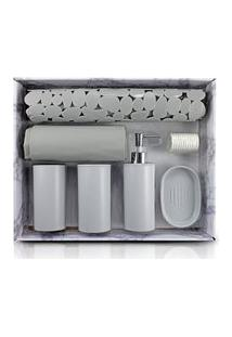 Kit De Banheiro Completo De 7 Peças Jacki Design Cozy Cinza