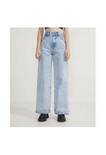 Calça Wide Leg Jeans Com Pregas Nos Bolsos