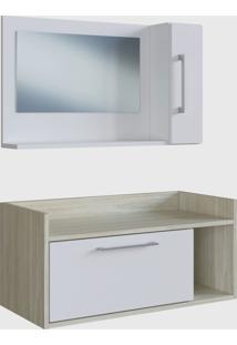 Conjunto De Balcão E Espelheira P/ Banheiro Aiden Branco E Madeirado Claro E Estilare Móveis