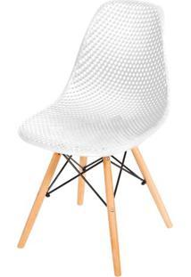 Cadeira Eames Furadinha Cor Branca Com Base Madeira - 50006 Sun House