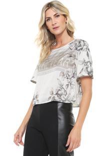 Camiseta Cropped Lança Perfume Estampada Off-White/Cinza