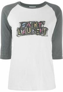 Saint Laurent Blusa Com Estampa De Logo - Branco