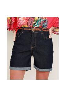 Bermuda Jeans Feminina Cintura Alta Com Barra Dobrada E Cinto Azul Escuro