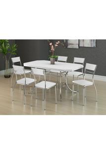 Mesa 1507 Branca Cromada Com 6 Cadeiras 1701 Branca Carraro