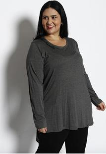 Blusa Lisa Alongada - Cinza Escurorovitex
