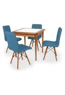 Conjunto Mesa De Jantar Em Madeira Imbuia Com Azulejo + 4 Cadeiras Gomos - Turquesa