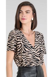 Blusa Feminina Transpassada Estampada Animal Print Zebra Manga Curta Decote V Bege