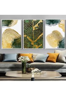 Quadro 75X150Cm Abstrato Verde Dourado Gardena Canvas Moldura Flutuante Filete