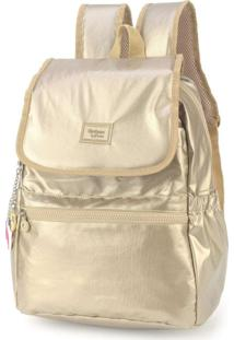 Mochila Up4You Maisa Crinkle Metalizado Dourada Ms45604Up