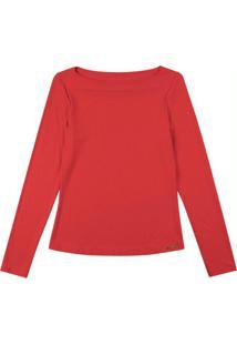 Blusa Manga Longa Com Decote Redondo Vermelho