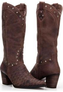 Bota Texana Country Capelli Boots Couro Com Aplicações Metálicas Feminina - Feminino-Café