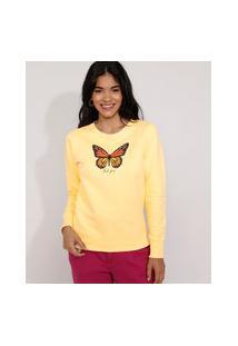 Blusa De Moletom Feminina Borboleta Decote Redondo Amarela