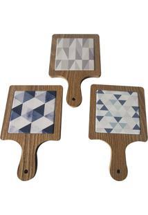 Descanso De Panela Le Wood Geometric Cerâmica Colorido 12X19Cm