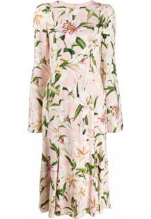 Dolce & Gabbana Vestido Midi Com Estampa De Lírios - Rosa