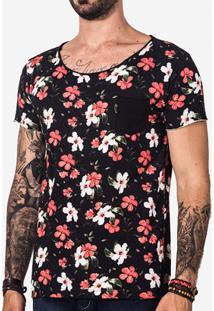 Camiseta Hermoso Compadre Hibisco Masculina - Masculino-Preto