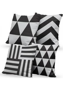 Kit 4 Capas De Almofadas Decorativas Own Preto E Branco Geométrico 45X45 - Somente Capa