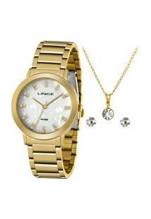Kit Relógio Feminino Lince Lrgh142L Ky28B1Kx Analógico 50M + Conjunto De Semijoia | Lince | Dourado | U