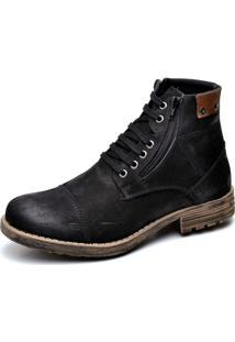 Bota Clube Do Sapato De Franca Coturno Urban Zipper Preto