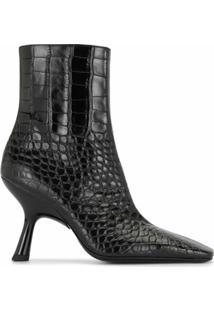 Simon Miller Ankle Boot Com Efeito Pele De Crocodilo - Preto
